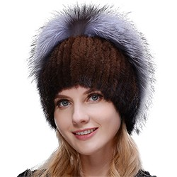 Middle aged women in the winter: mink fur women's knitted sweater hat new fashion European and American cat style ski caps 10