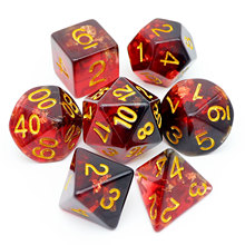 Haxtec Red Black Foil Dice Set Resin Polyhedral Dragons D D D&D Dice Dungeons for Dice Board Games