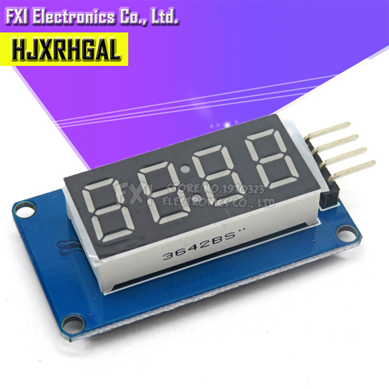 TM1637 <font><b>LED</b></font> Display Module For Arduino <font><b>7</b></font> <font><b>Segment</b></font> <font><b>4</b></font> <font><b>Bits</b></font> 0.36 Inch Clock RED Anode Digital Tube Four Serial Driver Board Pack image