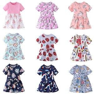Летнее милое платье с единорогом; Модное Повседневное платье для девочек с рисунком животных; Детские вечерние платья принцессы для дня рож...