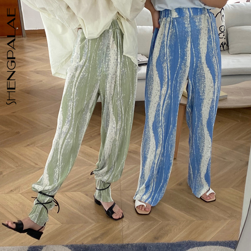 SHENGPALAE 2020 Summer New Rendered Color Stripe Pleated High Waist Was Thin Wide-leg Pants Trendy Women's Trousers QV1009