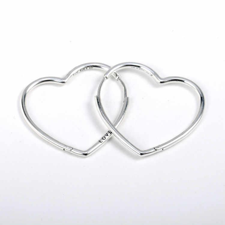 Asli 925 Sterling Silver Anting-Anting Besar Asimetris Hati Cinta Anting-Anting untuk Wanita Pernikahan Hadiah Fashion Perhiasan