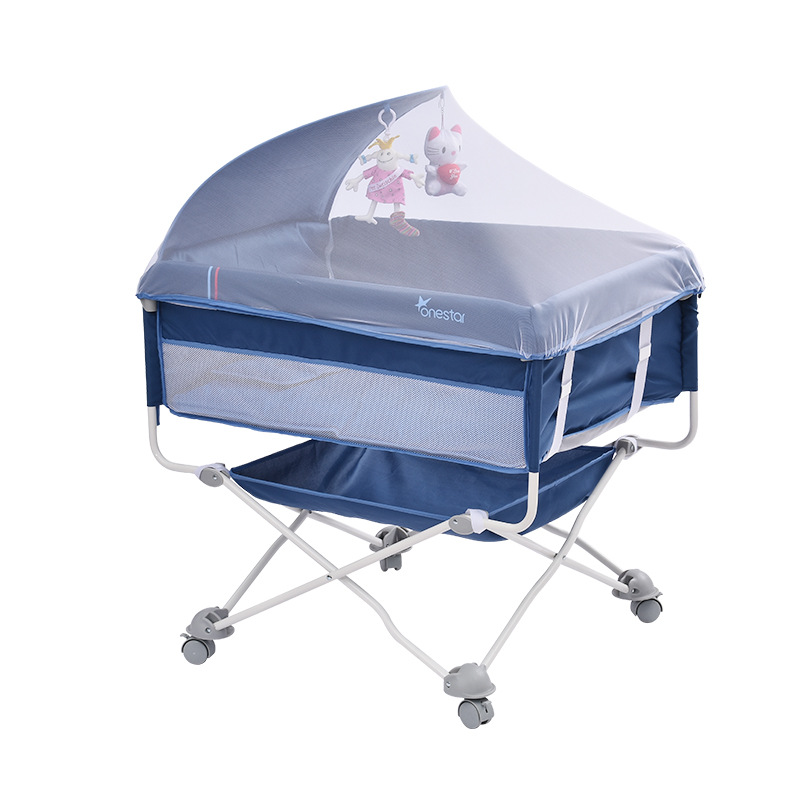 Portable Baby Crib Collapsible Baby Outdoor Travel Bed With Roller One Side Openable Kids Bed  Baby Lounger Baby Sleeping Bed