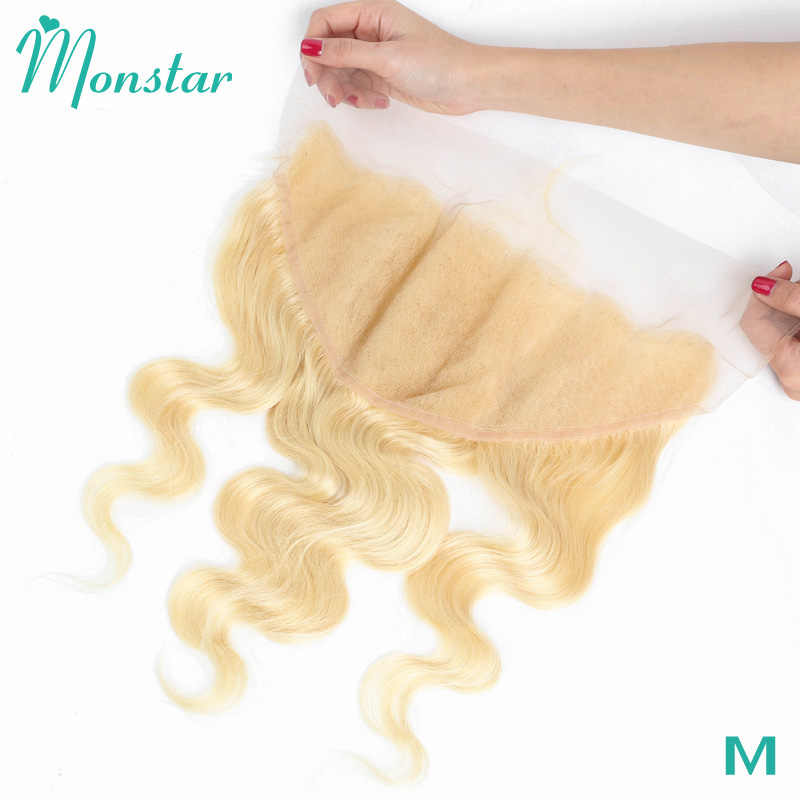 Monstar 13X6 Kant Frontale 613 Blonde Braziliaanse Remy Human Hair Body Wave Frontale Zwitserse Lace 13*6 oor Tot Oor Kant Frontale Sluiting