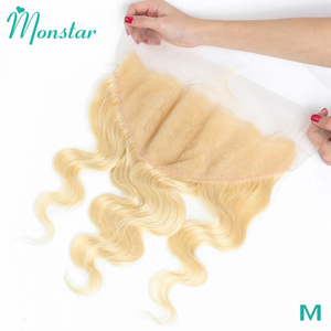 Monstar 13x6 Lace Frontal 613 Blonde Brazilian Remy Human Hair Body Wave Frontal Swiss Lace 13*6 Ear to Ear Lace Frontal Closure(China)