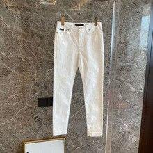 2021 spring new ladies leggings polyester white jeans