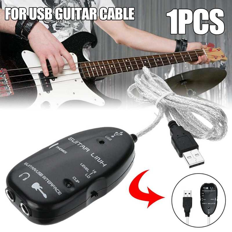 USB Guitar Audio Cable Music Recording Interface Link Adapter for MAC/PC
