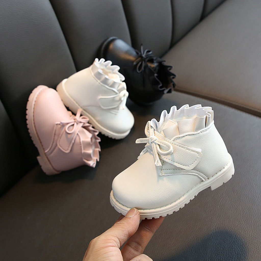 Winter Toddler Baby Girls Bowknot Solid Warm Short Boots Booties Causal Shoes Solid Butterfly-Knot Hook & Loop Girls Boots