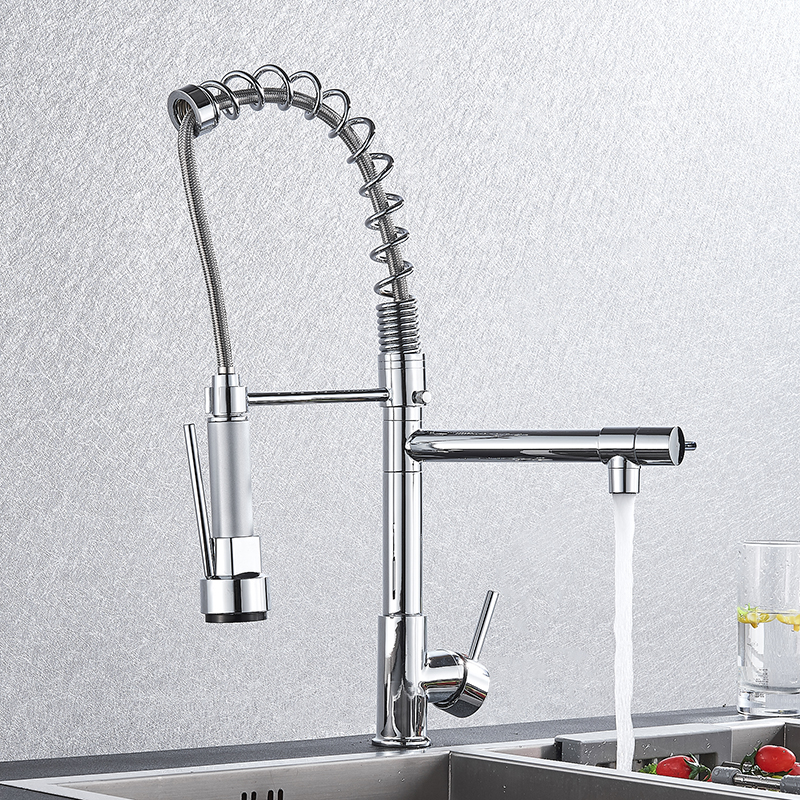 Image 2 - Chrome Spring Kitchen Faucet Pull out Side Sprayer Dual Spout Single Handle Mixer Tap Sink Faucet 360 Rotation Kitchen Faucets-in Kitchen Faucets from Home Improvement
