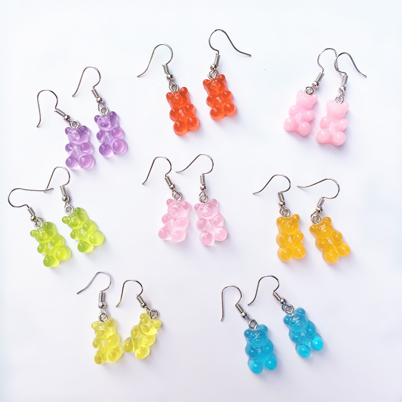 Cute Handmade Resin Colorful Cartoon Animal Bear Earring Unique Candy Color Drop For Women Girl Funny Party Jewelry Gift