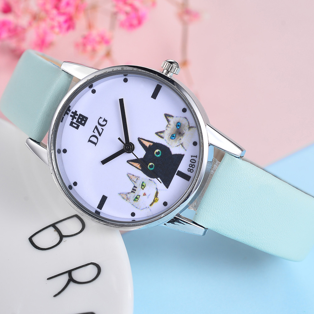 Funny Watch Women Girl Student Steel Case Leather Casual Fashion Female Cat Watches Luxury Brand Bracelet Quartz Watches W50