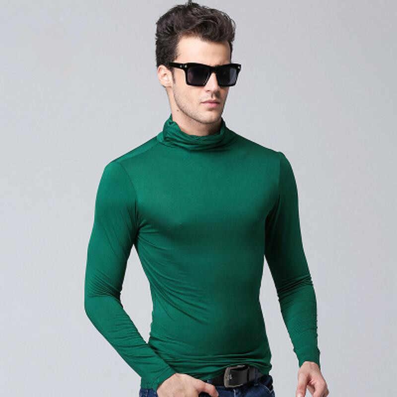 남자 티셔츠 긴 소매 티셔츠 터틀넥 티셔츠 남자 얇은 겨울 봄 패션 캐주얼 모달 티셔츠 망 티셔츠 와인 레드