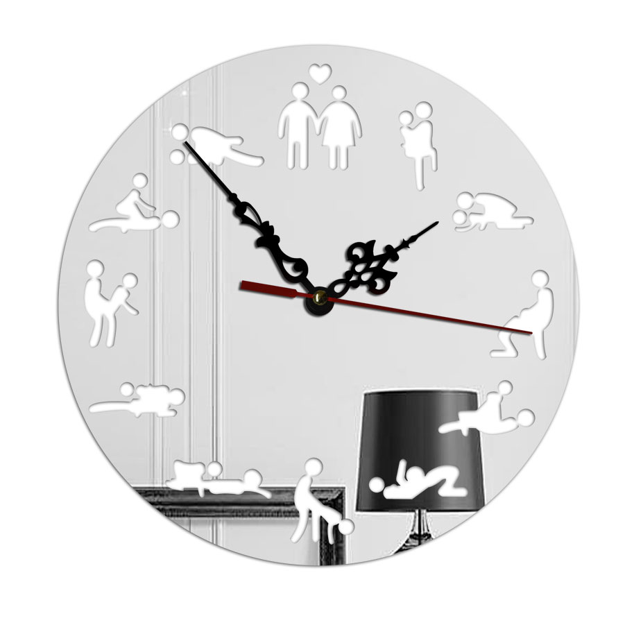 Creative Decroative Acrylic Mirror Wall Clocks DIY Movement Quartz Watch Sex Art Positions Designer Wall Clocks Home Decor(China)