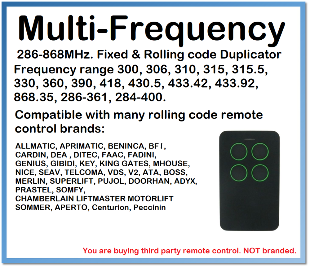 Multi-Frequency Fixed & Rolling Code Remote Control Duplicator 280-868MHz For RCB02 04 Mitto 2 4 Came Faac Flor-s Flo V2 Hormann