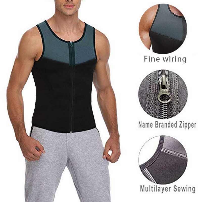 Bodyshaper Atasan untuk Pria Fashion Kebugaran Gym Neoprene Sauna Tank Top Pinggang Pelatih Pembentuk Tubuh Slimming Suit Rompi Zipper