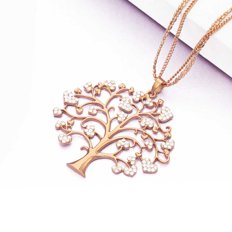 Heart Tree Of Life Pendant Necklace For Women Sweater Chain Fashion Jewelry Big Crystal Gold Silver Color Layered Long Necklace