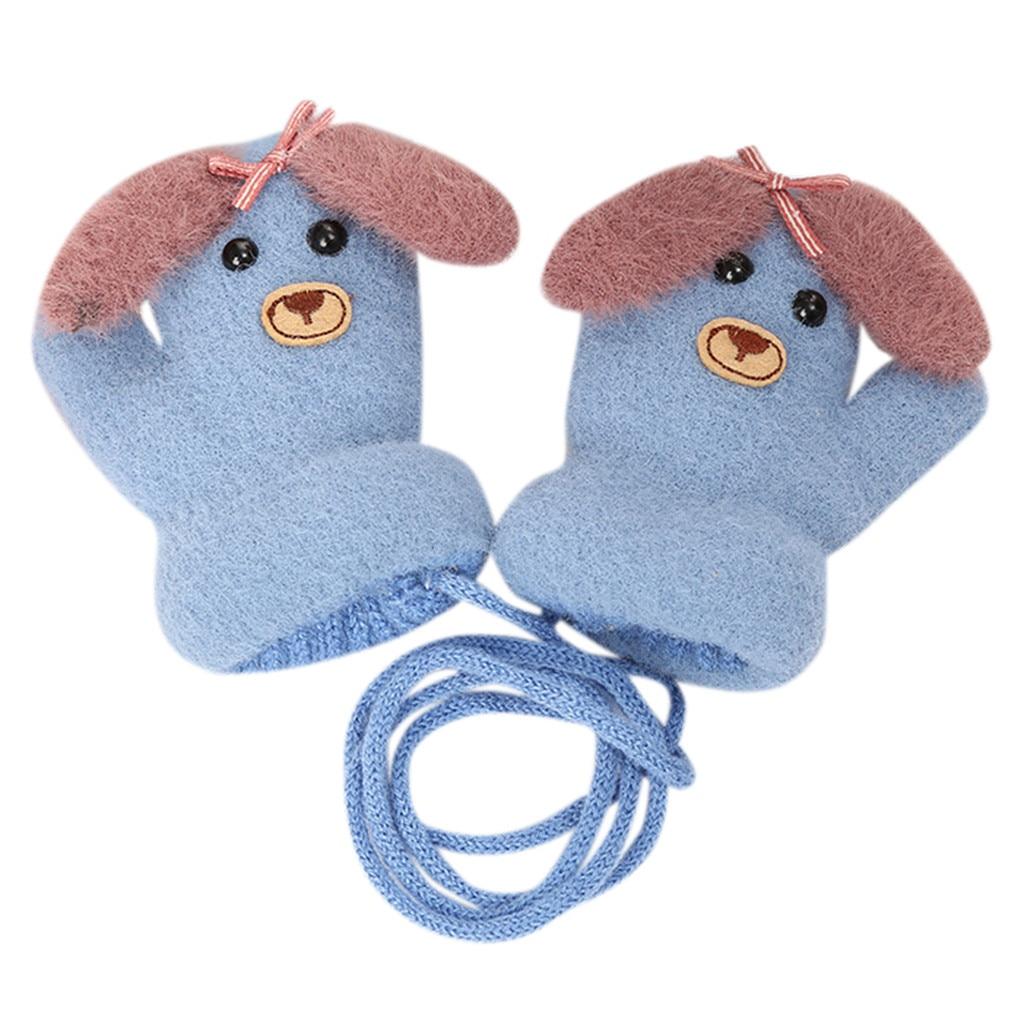 Детские теплые трикотажные зимние перчатки с милыми мультяшными животными для мальчиков и девочек, милые Мультяшные перчатки для детей, теплые зимние перчатки - Цвет: D