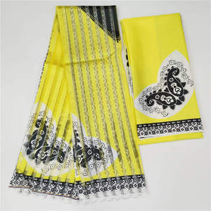 Image 2 - 2019 Hot Selling Imitated Silk African Print Fabric Organza And Ribbon For Garment Material Fabric ! F8101