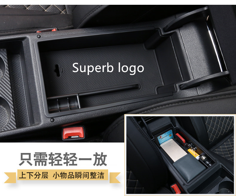 Car Armrest Box Storage Center Console Organizer Container Holder Box For Skoda Superb 2016 2017 2018 Accessories
