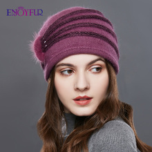 ENJOYFUR 真珠の装飾カシミヤニット帽子女性斜めストライプ冬帽子女性厚く暖かいビーニーレディース中年キャップ