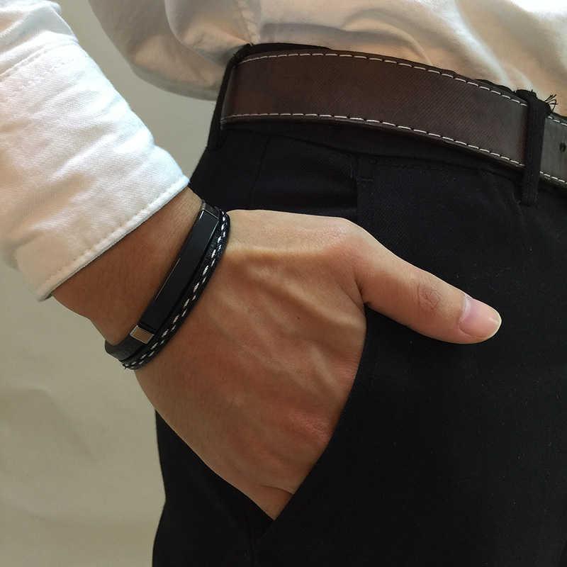 Vnox MULTI LAYERสร้อยข้อมือหนังสำหรับผู้ชายผู้หญิงปรับแต่งแกะสลักสแตนเลสสตีลส่วนบุคคลกำไลข้อมือ