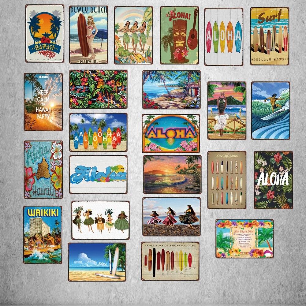 Винтажный дорожный оловянный знак Surf Aloha Hawall, Пляжная металлическая пластина для стены, для паба, кафе, домашнего искусства, декор для ремесе...