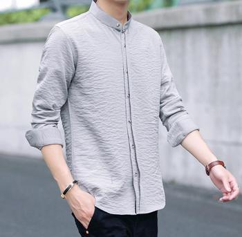 2020 New Four Seasons Men's Long Sleeve Shirt em8  Youth Slim Business Casual Shirt Men's kf6688-02-14