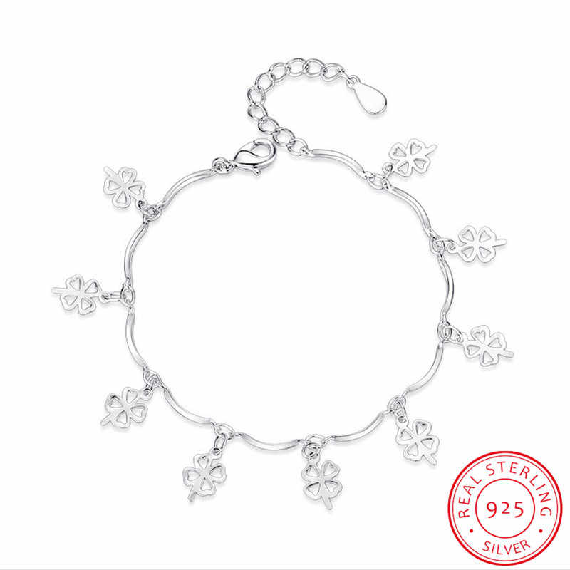 925 Sterling Silver Bracelets & Bangles For Women Sterling-silver-jewelry Lovely Clover Bracelet pulseira S-B114