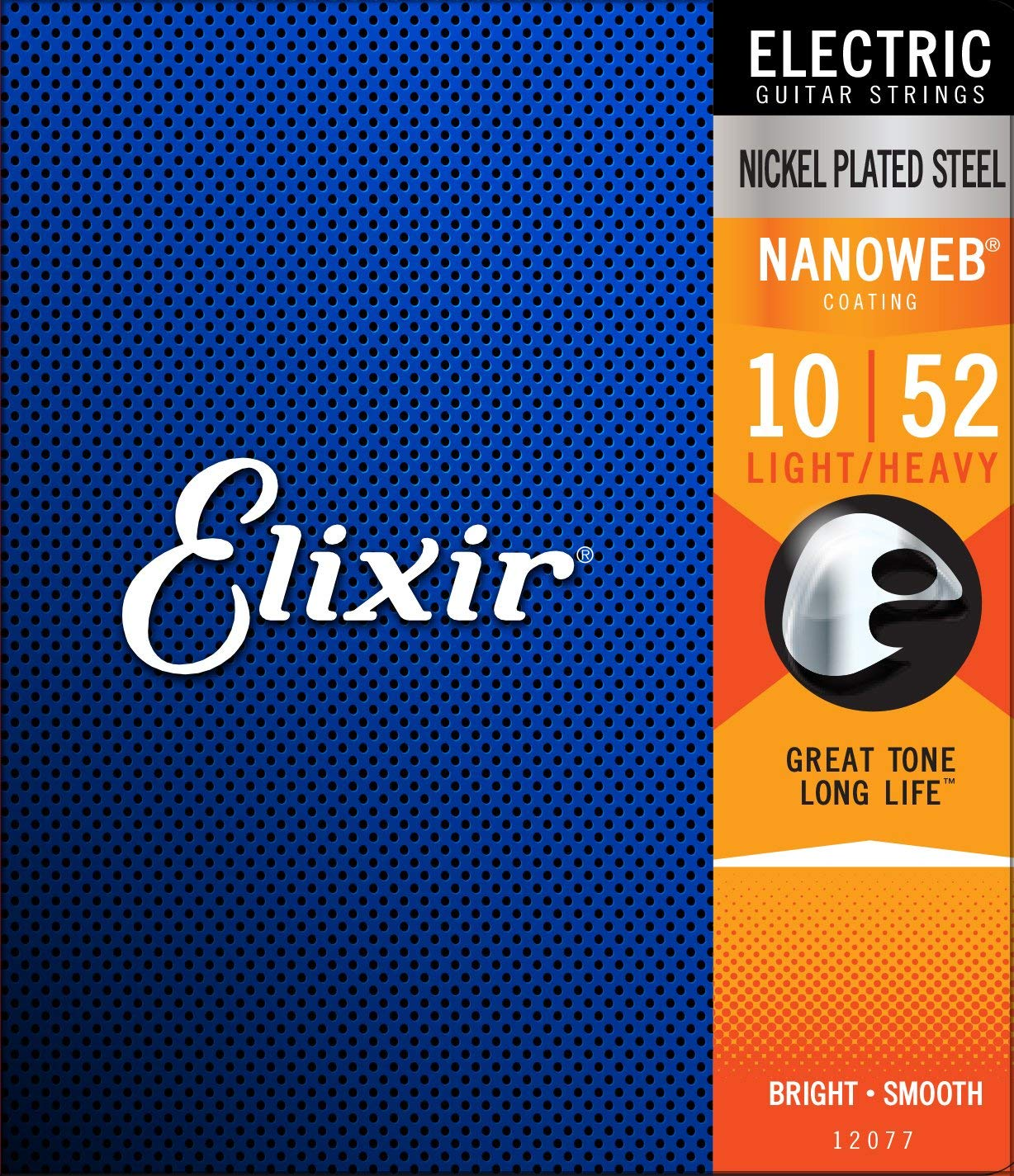 Elixir Strings 12077 Electric Guitar Strings W NANOWEB Coating, Light/Heavy (.010-.052)