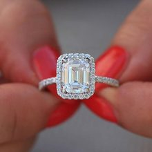 Hot Selling New Style 3.5 Carat Model Diamond Baguette Princess Ring Fashion Engagement Rings(China)