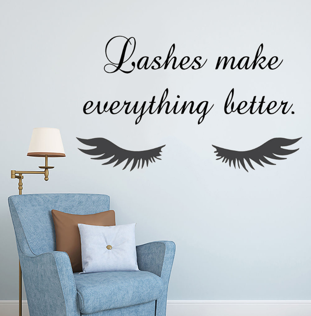 Beauty Salon Eye Lashes Live Love Wall Sticker Home Decoration Eyes Quotes Wallpaper Waterproof Wall Decoration Murals Decal 4