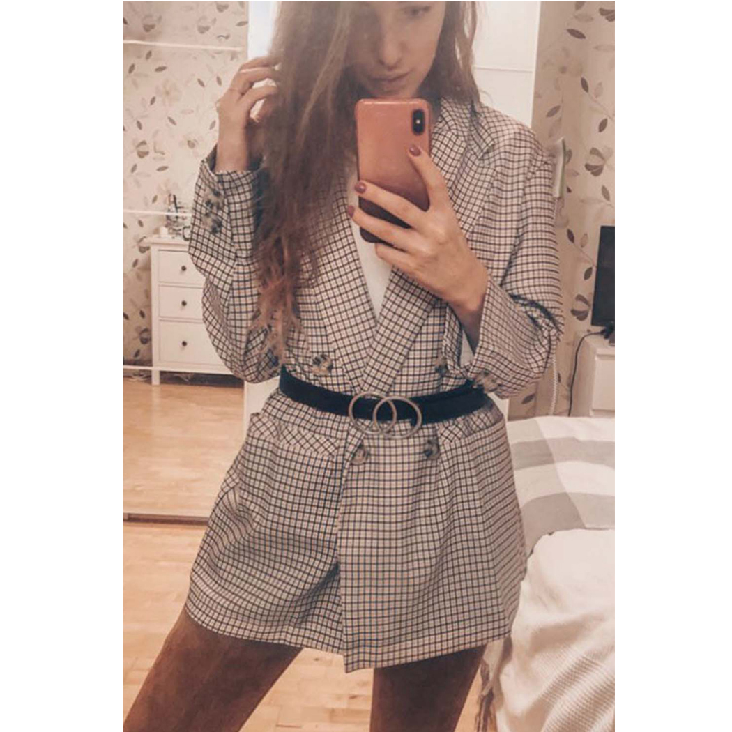 Vintage Double Breasted Women Plaid Blazer Jacket Autumn Spring Blazers Outwear Fashion Long Sleeve Cotton Office Ladies Coats