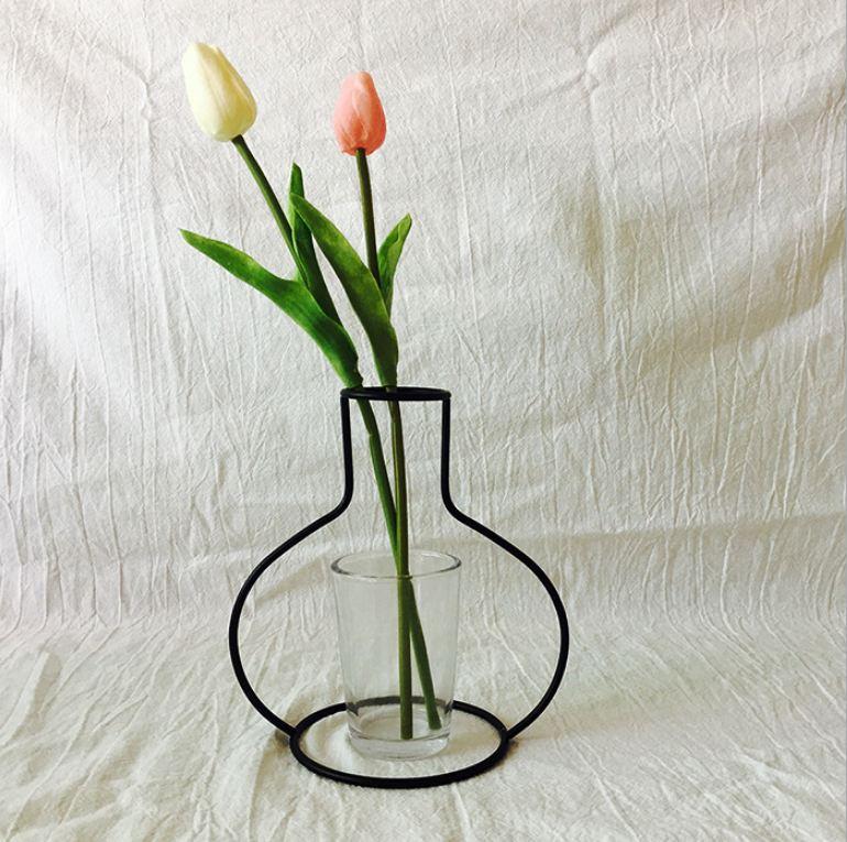 Новая креативная ваза DIY вечерние ваза черный держатель для растений подставка держатель железный провод цветок вазы орнамент жизнь - Цвет: G