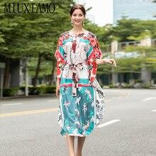 MIUXIMAO High Quality 2020  Loose Fall Dress Fashion O-neck Flower Print Bohemian Dress Women  Kaftan Dress With Belt