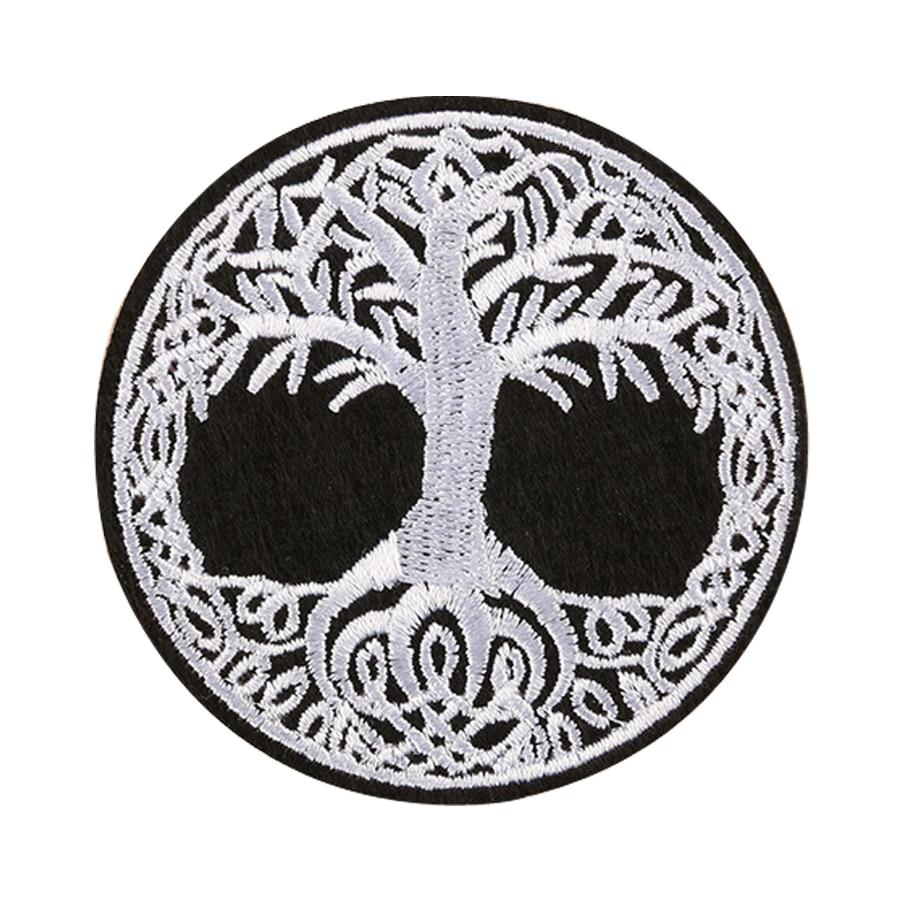 Yggdrasil-Badge brodé en fer sur lemblème   Écusson de larbre de la vie nordique, avec appliques sur lemblème cousu