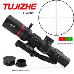 TUJIZHE 1-5x24IR Caça Tiro Vidro Gravado Retículo Riflescope Mira Óptica Rifle Compacto R/G Iluminação