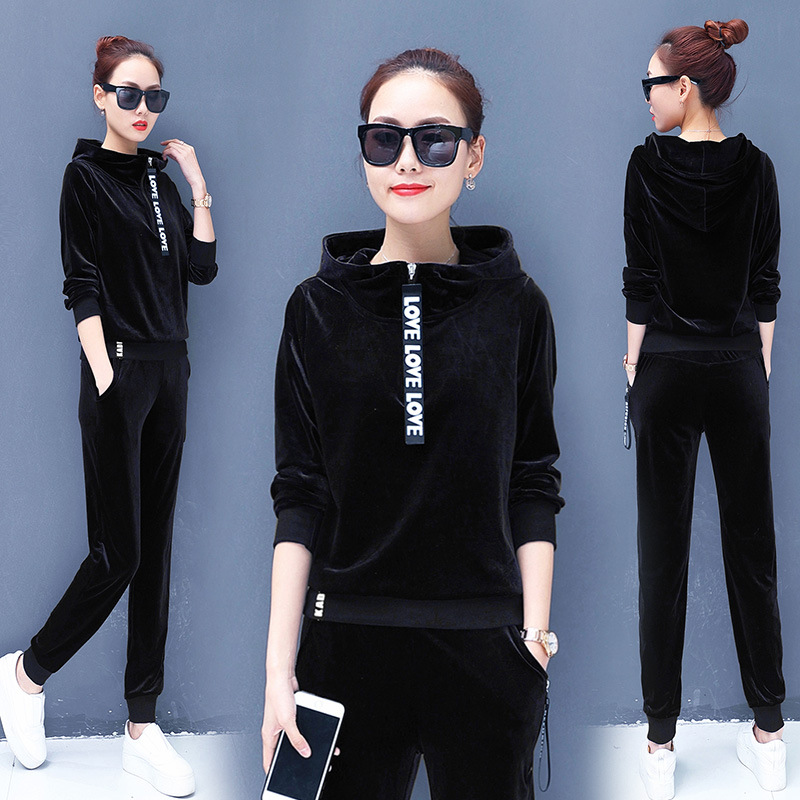 Autumn Women Sport Suit Tracksuit Velour Hoodie Sweater Sweatshirt+sweatpant Casual Jogger Running Workout Outfit Set Sportswear 34