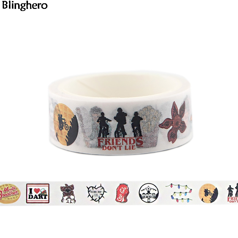 Blinghero Stranger Things 15mmX5m Cool Washi Tap Masking Tape Adhesive Tapes Diy Personalized Tapes Decorative Decal BH0009