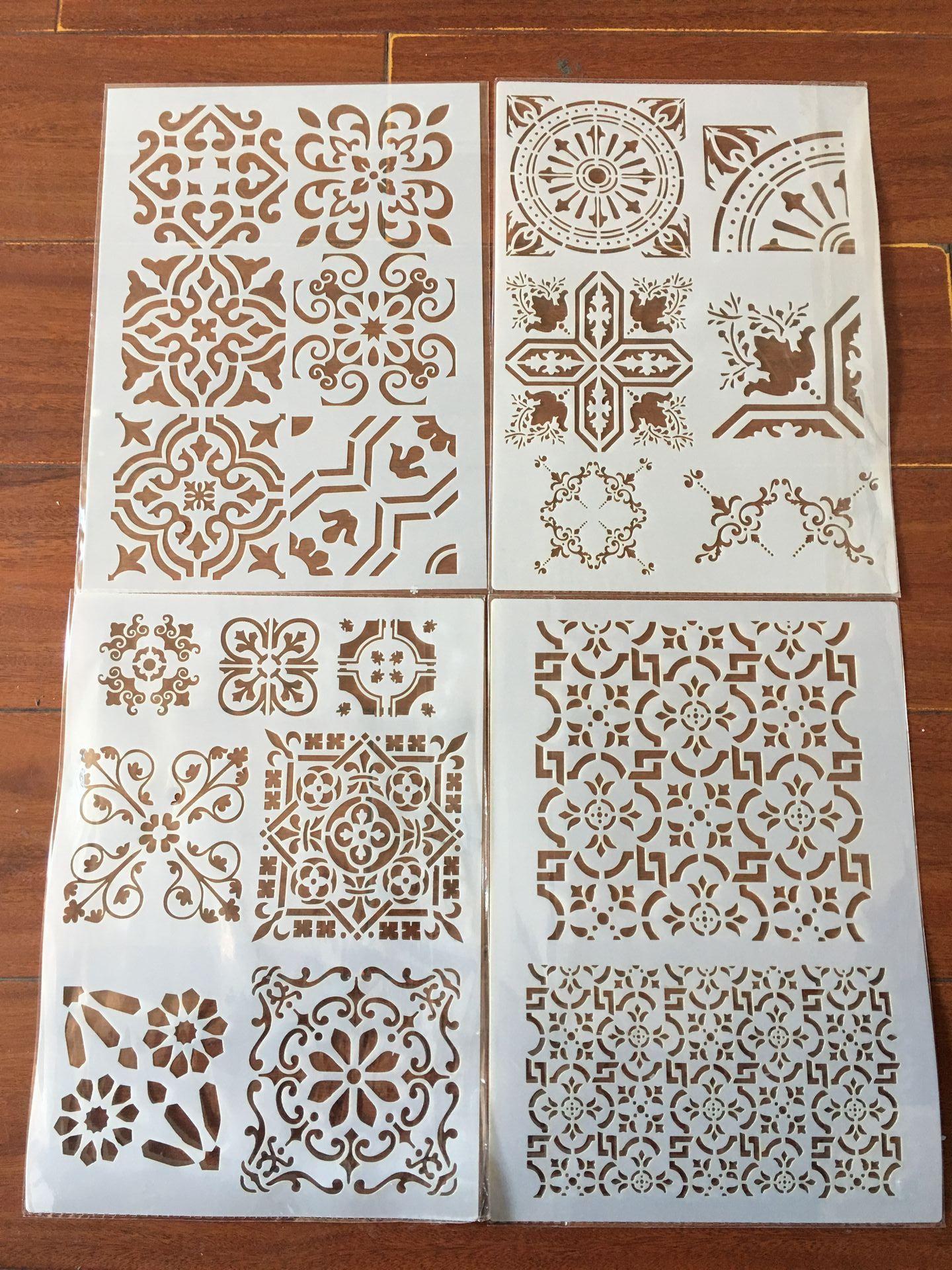 4pcs / set A4 Window flower lace Stencils Painting Coloring Embossing Scrapbook Album Decorative Template