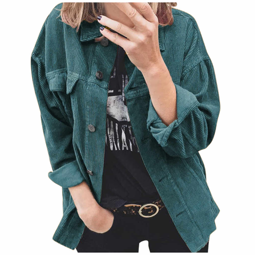 Women's Corduroy Jacket 2019 Autumn Winter Solid Button Long Sleeve Clothes Fashion Casual Vintage Warm Coat Outwear Streetwear