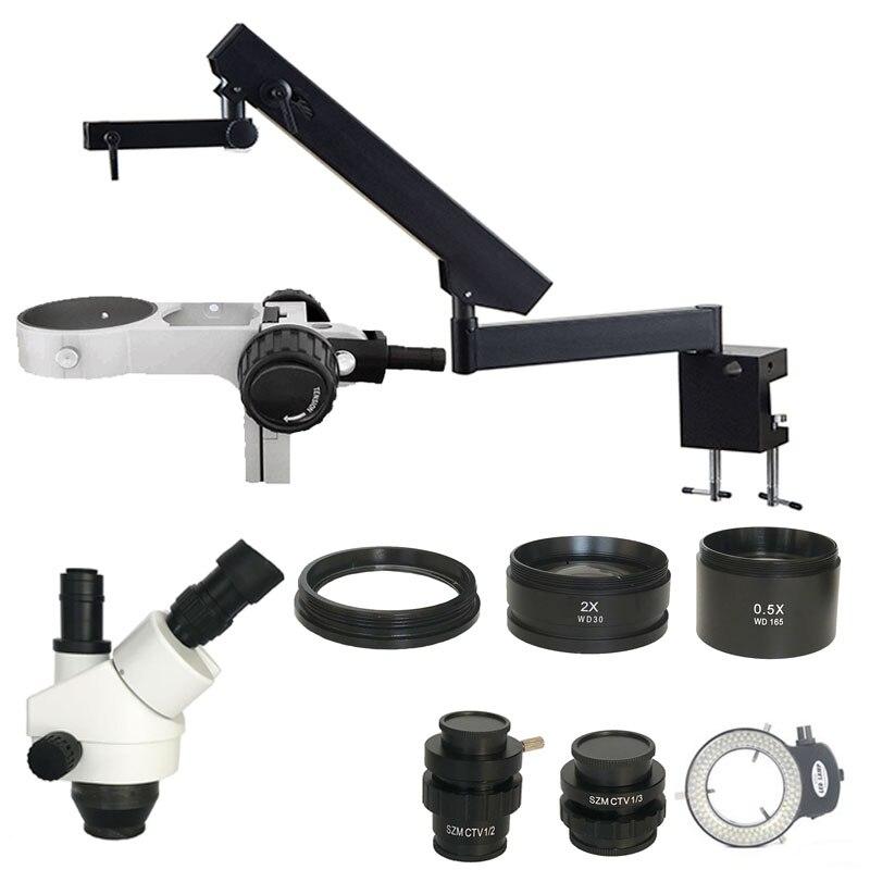 3.5X-90X trišakio artikuliacinio rankos priartinimo stereomikroskopas su 0.5X 2.0X objektyvu pramoninių PCB / papuošalų taisymui