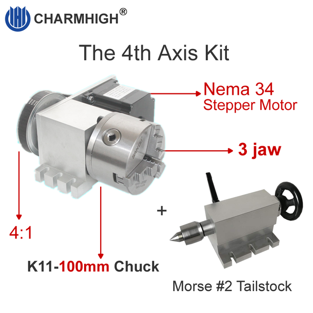 Nema 34 stepper motor (4:1)(K11 100mm) Chuck 100mm CNC 4th axis (A aixs, rotary axis) + Tailstock for cnc router