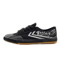 Ручной росписью дракон Feiyue обувь для ушу Для мужчин Для женщин обувь кунг-фу, черные кроссовки из парусины удобные Тай Чи, боевые искусства Туфли без каблуков
