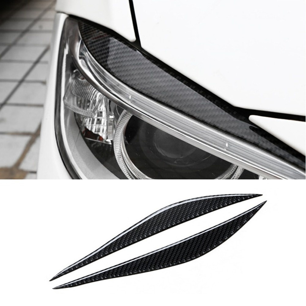 1Pair Carbon Fiber Car Sticker Headlight Eyebrows Front Headlamp Eyebrows Eyelids Trim Strip for BMW F30 320i 325i 316i 3 series