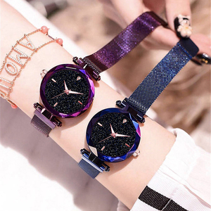 Luxo diamante rosa de ouro feminino relógios moda senhoras céu estrelado relógio magnético casual malha aço strass feminino relógio de pulso