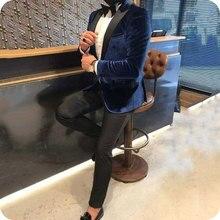 купить Royal Blue Velvet Prom Suits Smoking Jacket Men Suits for Wedding Black Shawl Lapel Slim Fit Costume Homme Groom Tuxedos 2Piece по цене 5820.37 рублей