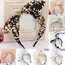 Sweet Big Bow Rabbit Ear Head Hoop Floral/Striped Women Headband Non-Slip Hair Hoop For Girls Women Knotted Hair Accessories