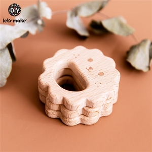 Image 5 - Lets Make 10pc Baby Wooden Teether Beech Wood Cartoon Teething Toys Montessori Inspired Nursing Pendant Baby Teether