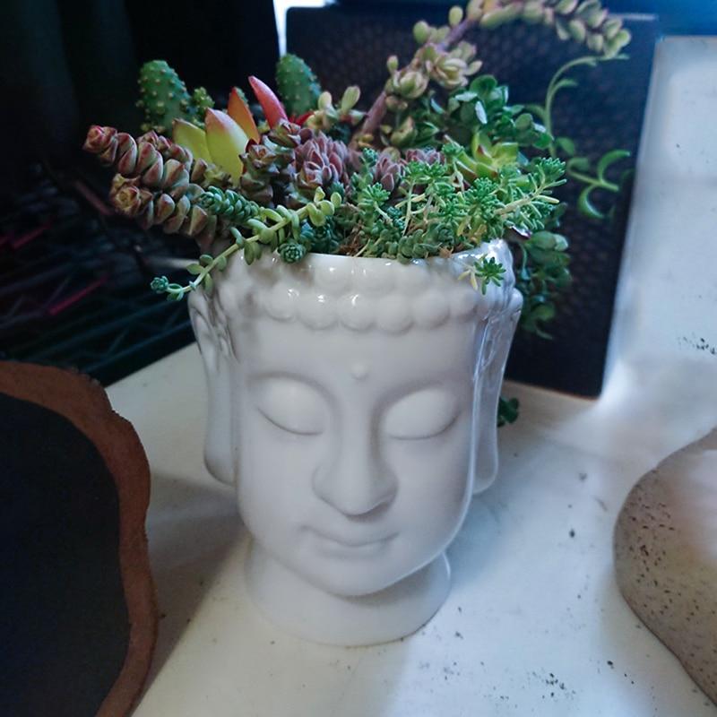 YXYT Buddha Head Planter ornament White Zen Ceramic Flower Pot for Succulents Plants Buddha face Statue Fengshui decor (6)