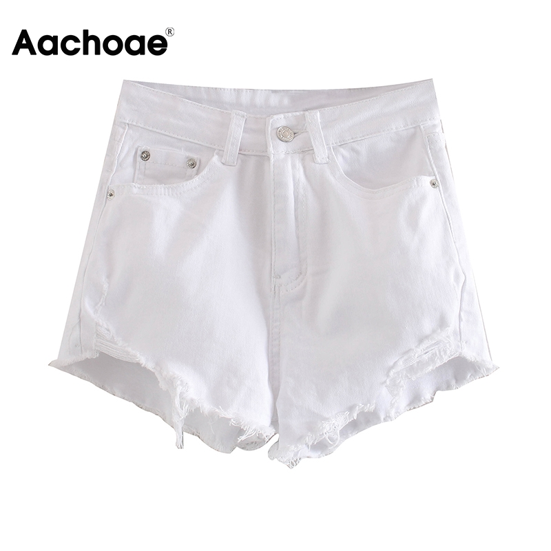 Aachoae Women Solid Shorts Jeans Summer 2020 Retro Raw Edge Baggy Mom Jeans High Waist Zipper Fly Casual Bottoms Vaqueros Mujer